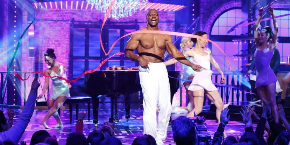 Here's a pic of Terry Crews dancing with ribbon dancers.