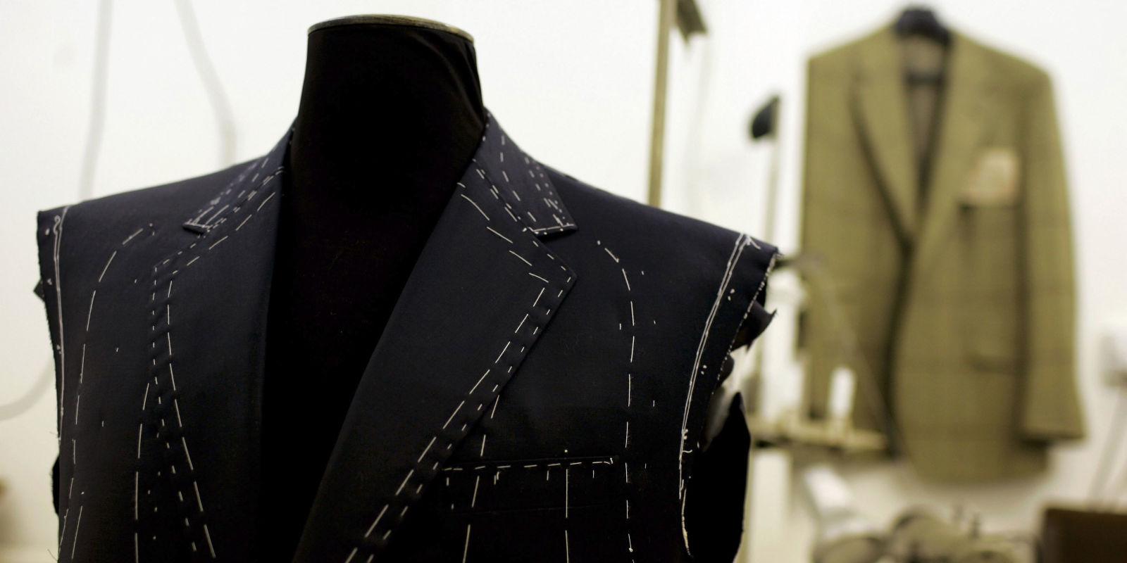Custom Tailors Mens Suit 45 S 45S Blue Handmade Side Vents Hong Kong.