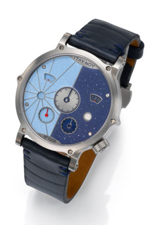 """The Itay Noy Part Time has an eye-catching two-tone dial that separates day from night. When it's daytime (from 6am-6pm), the day side is active, while the night side """"rests."""" Part Time ($4,800) by Itay Noy, itay-noy.com"""