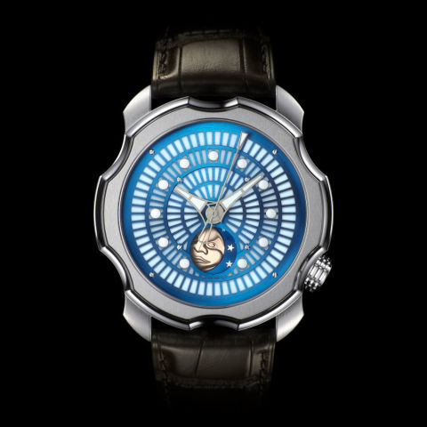 The Sarpaneva Korona K0 Northern Lights features a laminated luminescent dial designed in partnership with Canada's Ambient Glow Technology. Korona K0 Northern Lights ($15,700) by Sarpaneva, sarpanevawatches.com