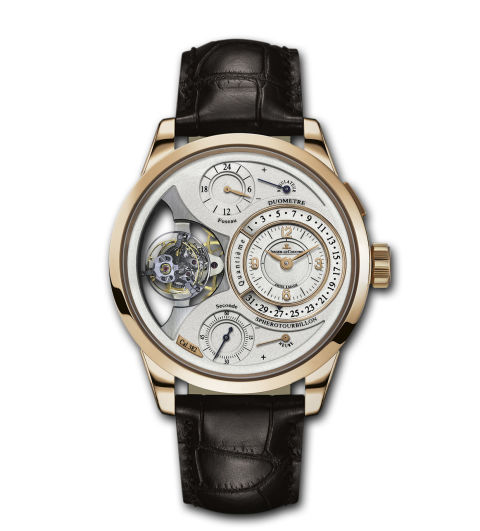 The open work dial on the pink gold Duomètre Sphérotourbillon lets wearers easily view its multi-axis tourbillon. Duomètre Sphérotourbillon by Jaeger Lecoultre, jaegerlecoultre.com
