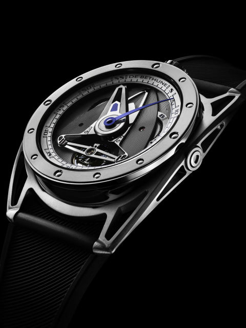 De Bethune's sporty version of its B28 features a hand-polished titanium finish, shock absorbers, and a floating lugs to make this big watch more comfortable to wear.  B28 GS ($75,000) by De Bethune, debethune.ch