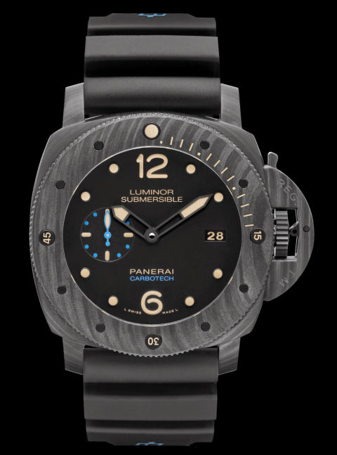 "Panerai's sleek Luminor Submersible boasts a woven carbon fiber ""carbotech"" casing for lightness and durability.  Luminor Submersible 1950 Carbotech ($18,000) by Panerai, panerai.com"