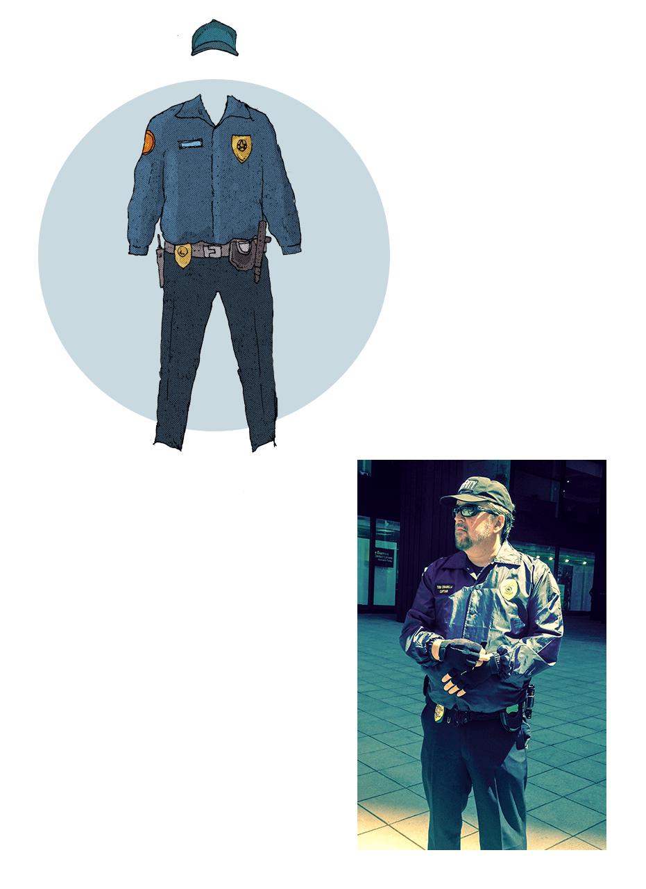 Tom Chiarella as a security guard