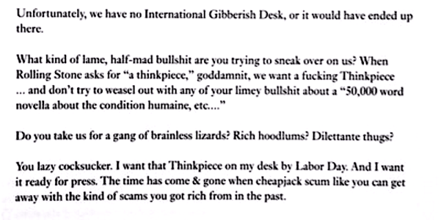 Hunter S Thompsons Rejection Letter To A Famous Author Cheapjack Scum