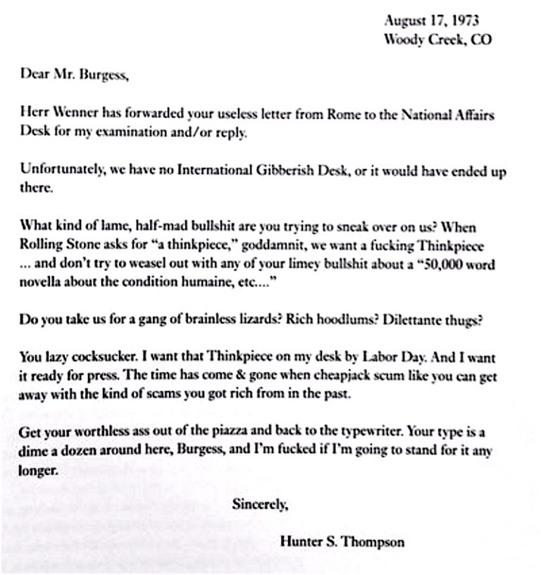 Anthony Burgess hunter thompson