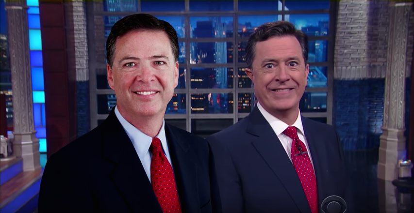 Image result for stephen colbert comey