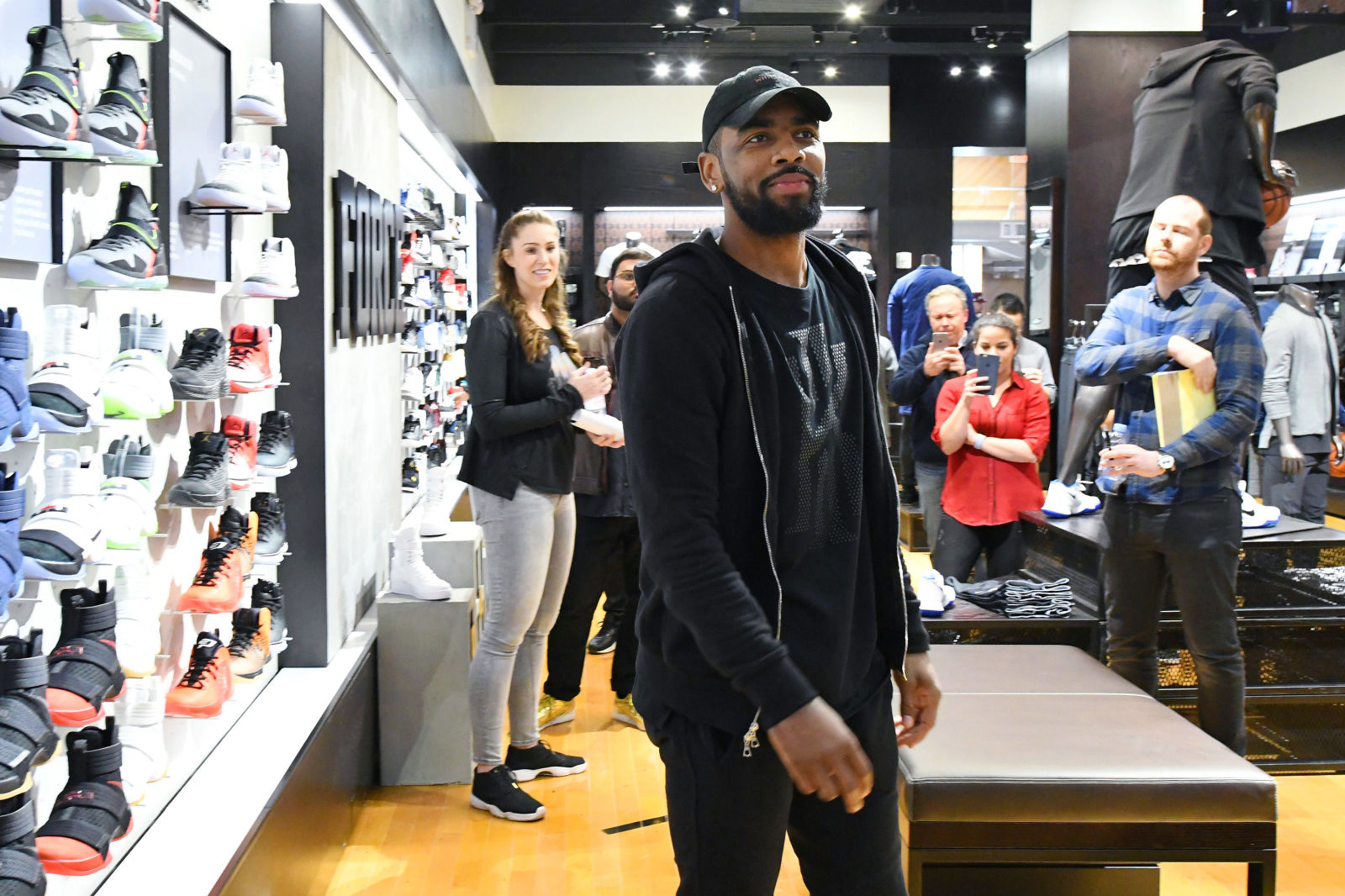 Kyrie Irving tours Times Squre Foot Locker