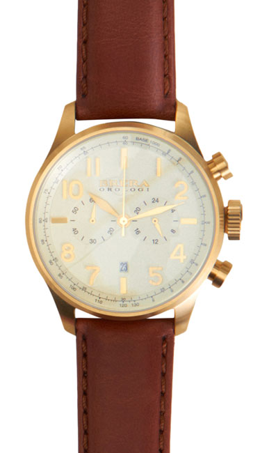 At this price, that's a lot of elegance for your buck. Yellow gold and brown leather never felt so right. Classico ($695) by Brera, barneys.com