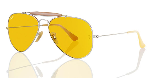 ray ban yellow lens aviator  ray ban 75th anniversary ambermatic
