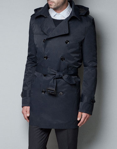 Mens Rain Trench Coat With Hood Sm Coats