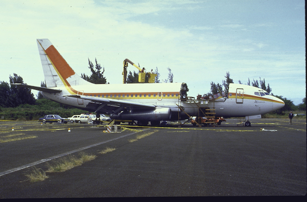 It was an 18-year-old Boeing 737. Explosive decompression removed and killed one un-harnessed flight attendant and injured 65 strapped-in passengers. & What Happens When You Open the Door of a Plane at 30000 Feet? Pezcame.Com