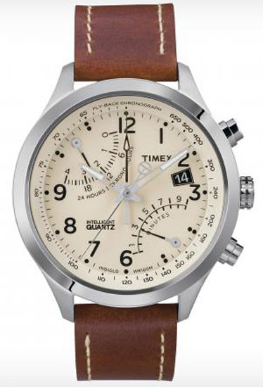 With an off-white face and great numerical details, this is far from your father's Timex. Intelligent quartz chronograph ($165) by Timex, timex.com