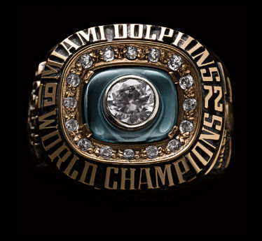 The Miami Dolphins completed the only undefeated season in NFL history to secure this handsome piece of finger wear.